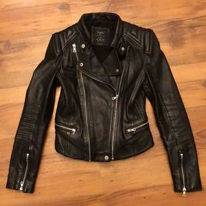 Trafluc by Zara genuine leather biker jacket M S